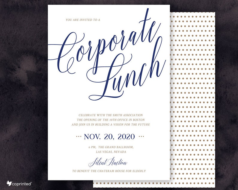 Appreciation Dinner Or Corporate Lunch Invitation Business Etsy