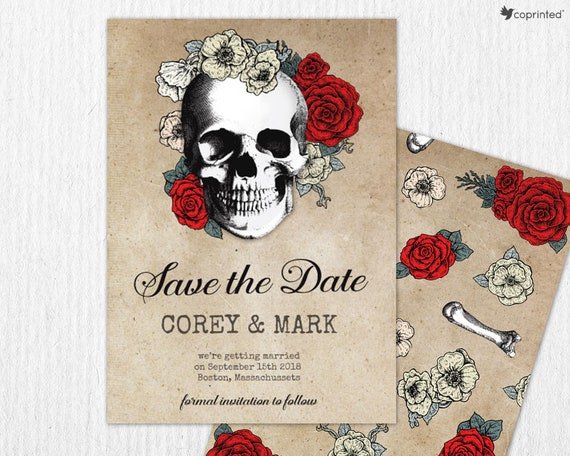 Halloween Wedding Invitation And Save The Date Cards Roses Etsy