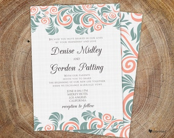 Embroidery Floral Wedding Invitation - modern, nature, floral, flowers, wreath, typography, swirls, flowers, seasonal, template, pastel