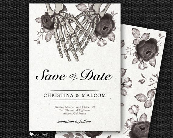 Skeleton Save The Date Cards Death Save The Date Gothic Etsy