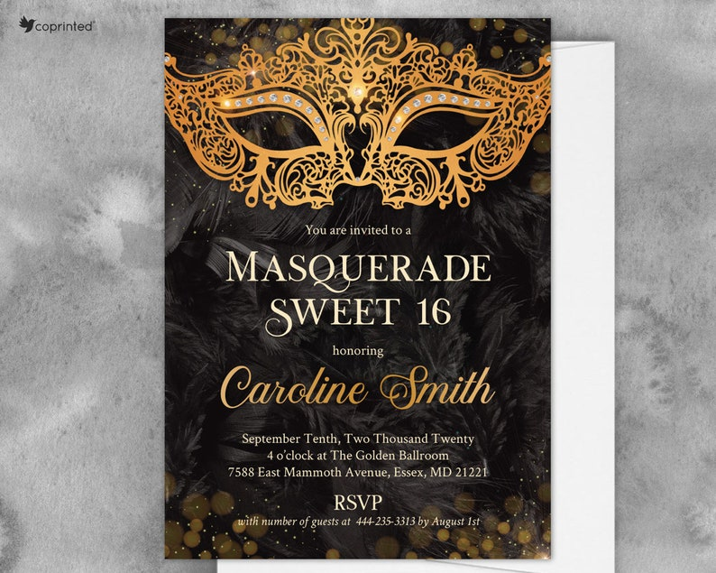 Sweet 16 Masquerade Ball Carnival Invitation Party Quinceanera Invites Birthday Invitations Mardi Gras Printed