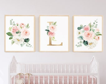 Bon Baby Gift Baby Shower Gift Personalized Blush Nursery Art Set Of 3 Girl  Nursery Decor Pale Pink Monogram Art Large Over Crib Floral Flowers