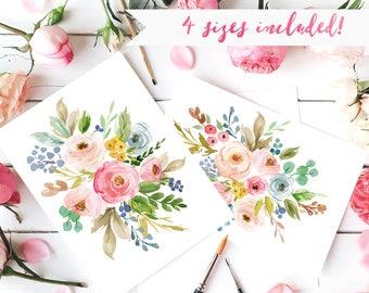 watercolor flower prints watercolor floral nursery wall art etsy
