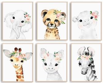 Printable Wall Art, Boho Nursery Decor for Baby Girl, Baby Animal Paintings with Blush Pink Flowers ,Set of 6 Nursery Wall Art Printables