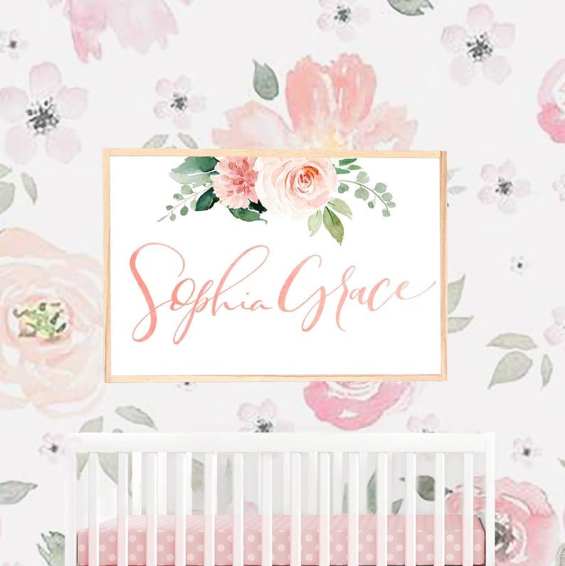 Blush Floral Nursery Name Sign For Floral Wallpaper Girl Etsy