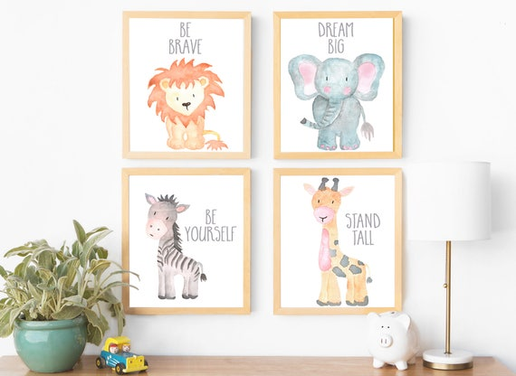 safari nursery decor wall art print set of 4 nursery art set etsy