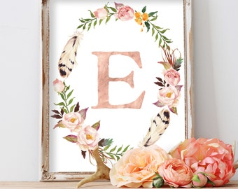 Rose Gold Monogram Initial Letter Inside Watercolor Floral Wreath, Personalized Digital Printable Art