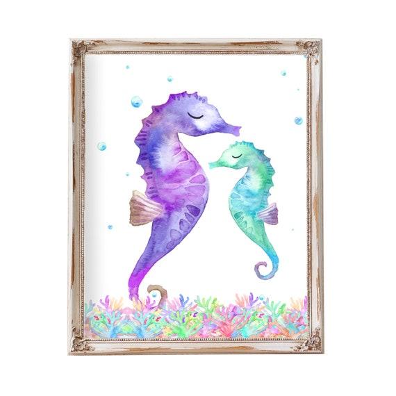 Beach Bathroom Decor Sea Horse Seahorse Decor Seahorse Art