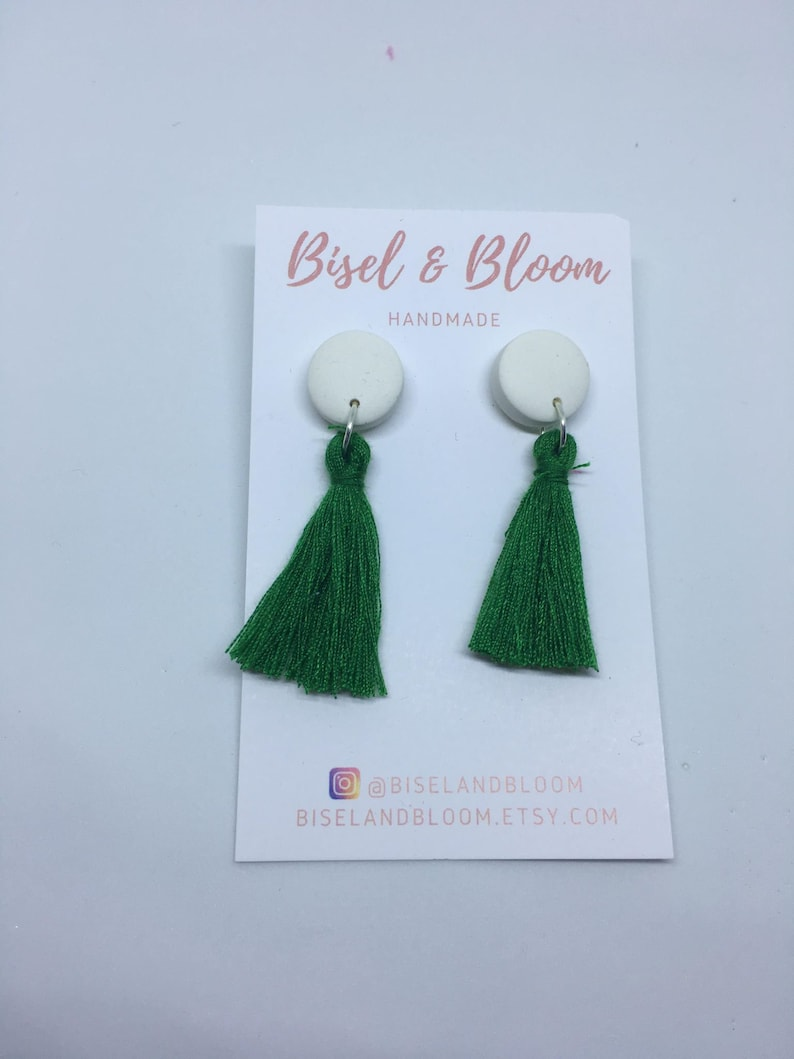 Tassel Studs- White and emerald green