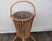 Vintage sewing basket shabby wool vintage wool basket vintage 50s bamboo