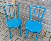 2 vintage coffeehouse chairs bentwood pimp it up garden decoration petrol blue