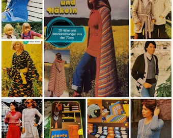 70s Instructions for 20 Crochet and Knitting Projects Handmade Knitwear Fashion Poncho Cape Cardigan Toilet Roll Knitted Dress Crochet Dress