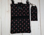 Cell Phone Purse with Adjustable Strap and Chapstick Holder - Black with Small Rose