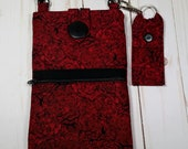 Cell Phone Purse with Adjustable Strap and Lip Balm Holder - Red Rose Fabric