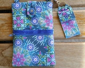 Cell Phone Purse with Adjustable Strap with Chapstick Holder - Blue Floral Print Fabric