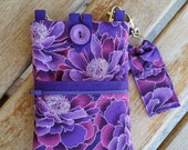 Cell Phone Purse with Adjustable Strap with Lip Balm Holder - Purple Floral Print Fabric