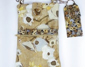 Cell Phone Purse with Adjustable Strap and Lip Balm Holder - Floral Print Fabric