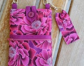 Cell Phone Purse with Adjustable Strap and Lip Balm Holder - Pink Floral Print Fabric
