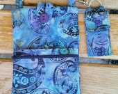 Cell Phone Purse with Adjustable Strap with Lipbalm Balm Holder- Blue and Purple Paisley Batik Fabric