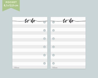 "Note paper ""To do"" - 25 sheets - Pocket Filofax"