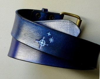 Pixelated stars - STARLIGHT - leather belt