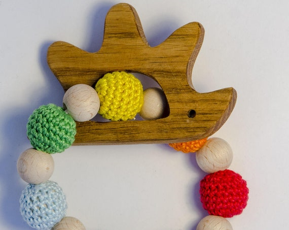 Gum massaging, wooden hedgehog, sensory game, Montessoriano game, wooden teether, teething ring, Dentaruolo