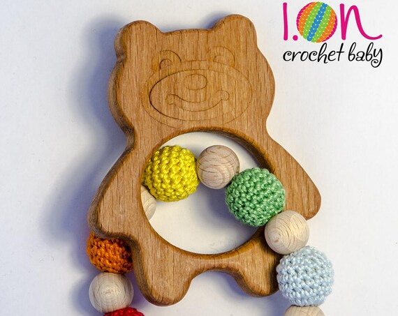 Wood and Cotton teether, teething game, Teether teddy bear, natural Teether game, teething ring