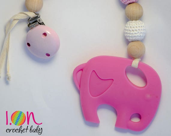 Game Teething babies Natural remedy, game with silicone elephant, teether for teething by fridge