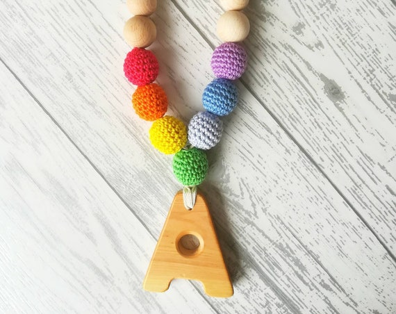 Rainbow Lactation necklace, babywearing necklace, gift for mother, wooden letter, personalized lactation necklace