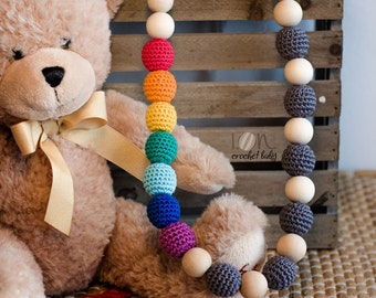 Rainbow&Rain - Nursing necklace - Teething Necklace - Crochet Necklace