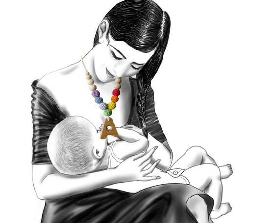 Nursing necklace, nursing necklace for mom, nursing necklace wood, breastfeeding necklace, baby wearing