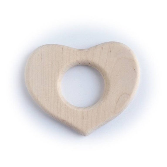 Natural wood massage, wooden ring, heart massage, Montessori/Waldorf wooden toy, for newborn