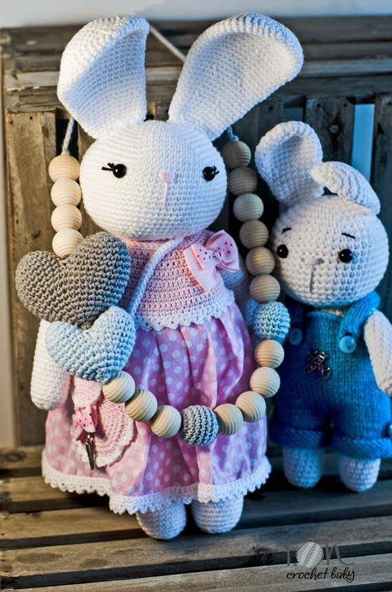 DoubleLove -  Heart Crochet Necklace - Nursing necklace - Teething Necklace