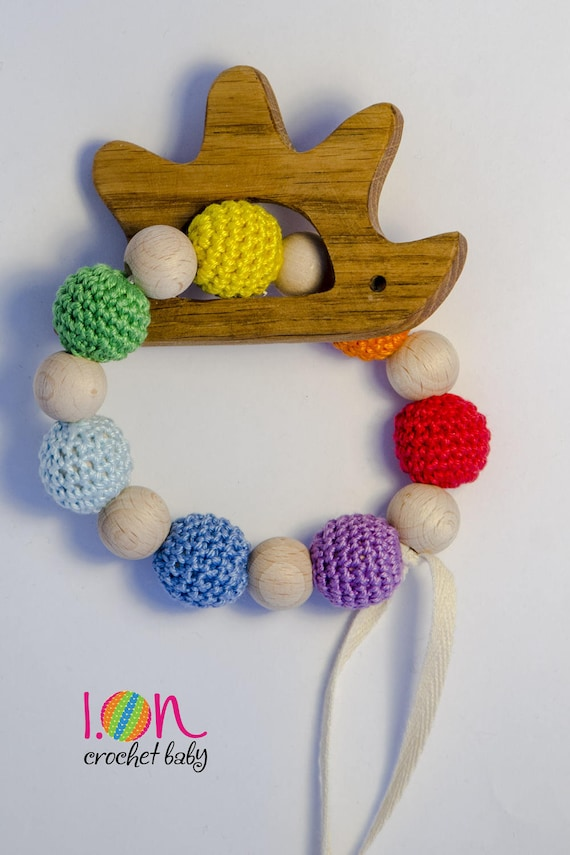 Teething game, wooden hedgehog, sensory game, Montessori game, wooden teether, teething ring, Dentaruolo