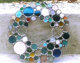 Confetti rim glass / stained glass / stained glass / Tiffanytechnik