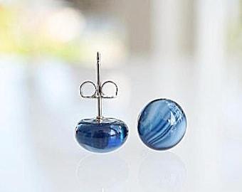Blue glass earrings, fused glass studs, blue glass studs, blue and white small studs, dark blue earrings, handmade glass jewelry