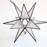 Stained glass iridescent Moravian star, geometric stained glass suncatcher, Christmas holiday decoration, textured clear glass star