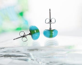 Blue fused glass studs, blue and green stud earrings, blue glass earrings, colorful glass earrings, blue studs, birthday gift for her