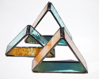 Stained glass suncatchers, set of 3, geometric stained glass, orange and sea green stained glass art, triangle art, minimalist glass art