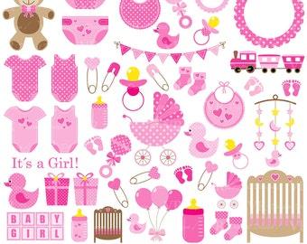 Baby Girl Clip Art, Pink Baby Shower Clipart, Nursery Clip Art, Baby Girl Vector Clipart, Baby Girl Onesie Clipart, Digital Download