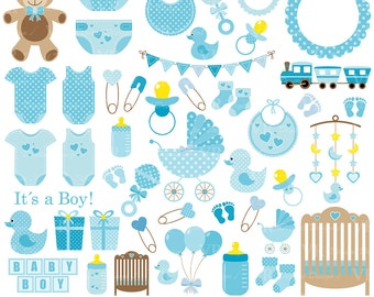 Baby Boy Clip Art, Blue Baby Shower Clipart, Nursery Clip Art, Baby Boy Vector Clipart, Baby Boy Onesie Clipart, Digital Download
