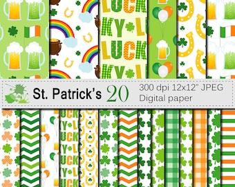 St Patricks Day Digital Paper, Irish Digital Papers, Shamrock Clover Green Orange Paper, St Patricks Patterns, Instant Download