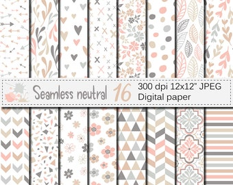 Seamless Neutral Digital Paper Pack, Neutral Flowers and Leaves paper, Neutral floral patterns, Neutral Geometric Scrapbooking Papers