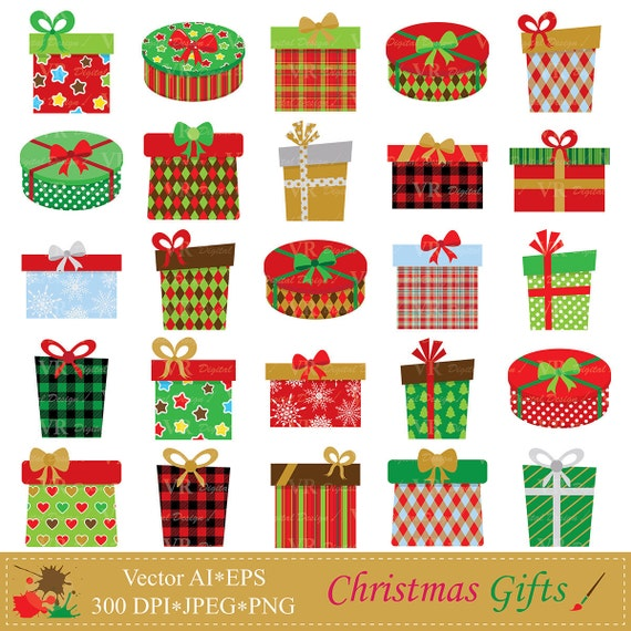 Christmas Presents Clipart.Christmas Gifts Clip Art Christmas Presents Clipart Christmas Gift Boxes Clipart Digital Download Vector Clip Art