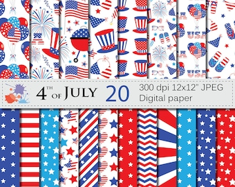 4th of July Digital Papers, Patriotic USA Red and Blue Stars and Stripes Digital Printable Paper, Independence Day Digital Download