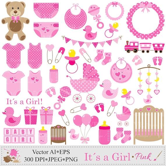 Baby girl Baby shower clipart digital downloads