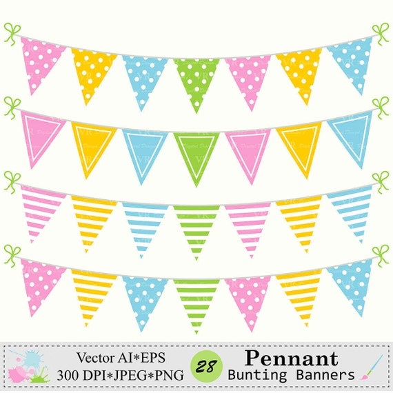 Wimpel Girlande Banner Clipart Geburtstags Party Girlande Etsy