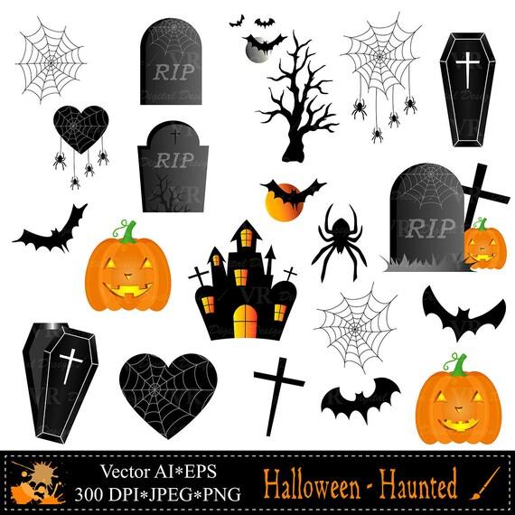 Halloween Cliparts mit Spukhaus spukt Baum Kürbisse Sarg