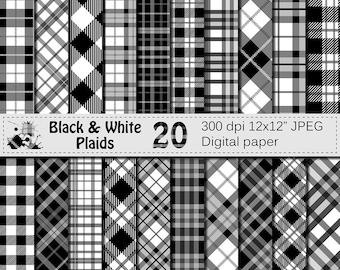 Black and White Plaids Digital Paper, Buffalo Plaid Lumberjack Check Digital papers, Grey Plaids Geometric Scrapbook paper, Instant Download