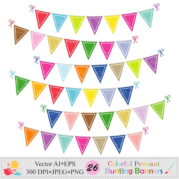 Bunte Wimpel Girlande Banner Clipart Geburtstags Party Etsy